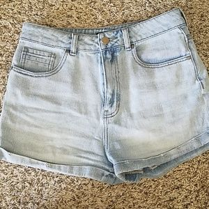 Kendall and Kylie and denim high waisted shorts